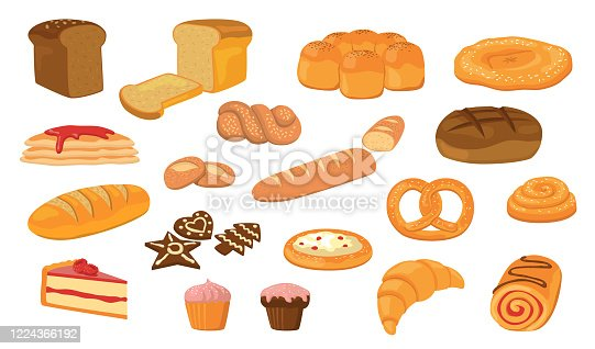Various breads flat vector collection. Cartoon loafs, French baguettes, croissant, buns, ciabatta, bagel, cakes illustration set. Pastry, bakery product and healthy food concept