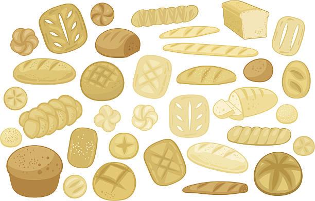 様々なパンセット - 食パン点のイラスト素材/クリップアート素材/マンガ素材/アイコン素材