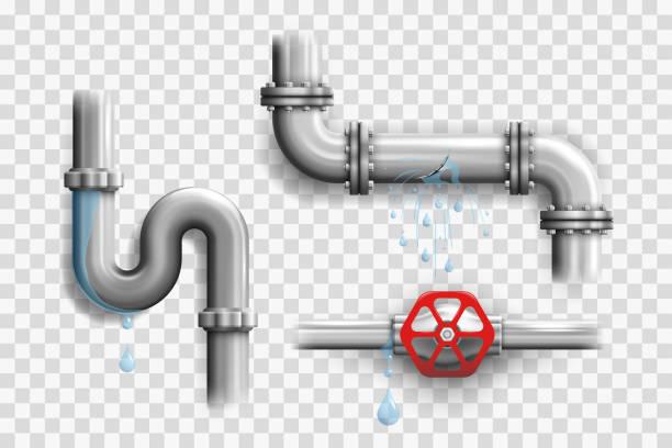 ilustrações, clipart, desenhos animados e ícones de vários tubos de metal quebrados e vazando elementos de gasoduto - encanador