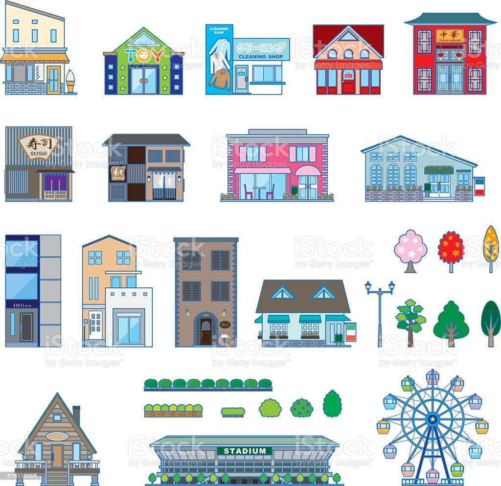 さまざまな建物無地図 アイコンのベクターアート素材や画像を多数ご