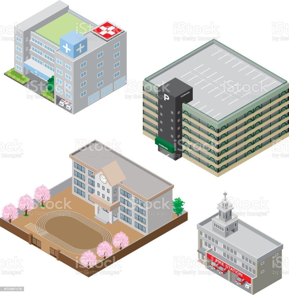 様々 な建物、固体図 ベクターアートイラスト