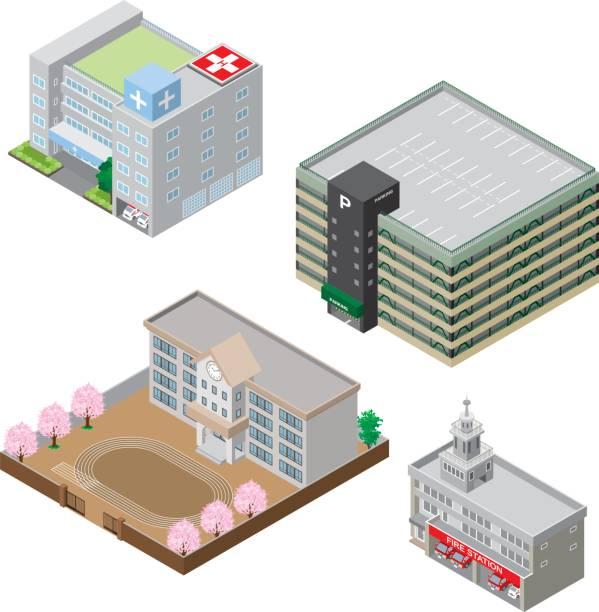 様々 な建物、固体図 - 高等学校点のイラスト素材/クリップアート素材/マンガ素材/アイコン素材