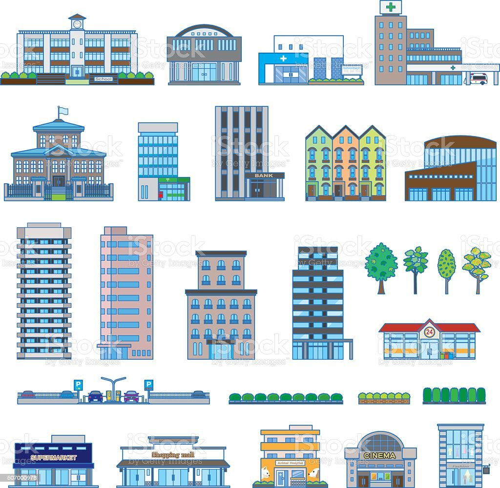Various building vector art illustration