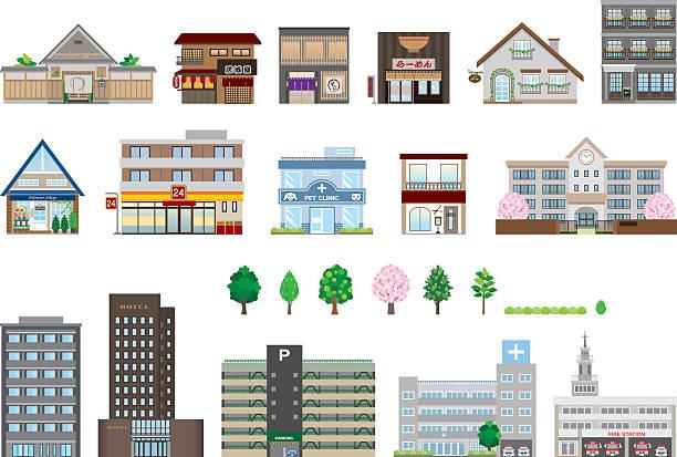 さまざまな建物 ベクターアートイラスト