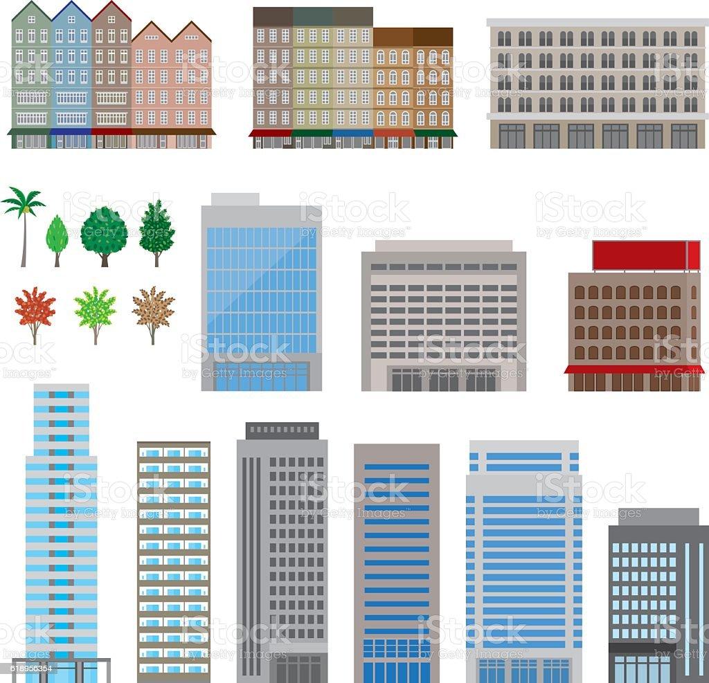 Various building vector art illustration