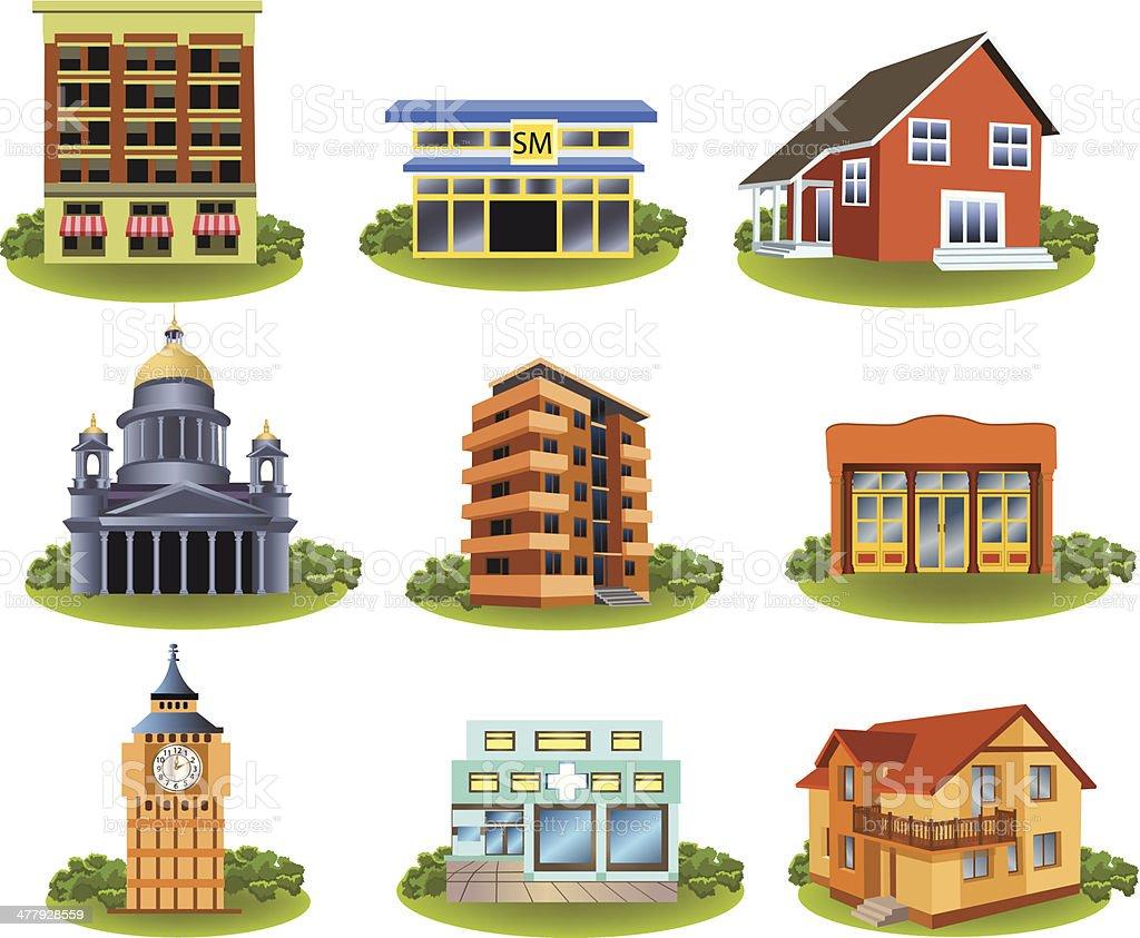 various buildings royalty-free stock vector art