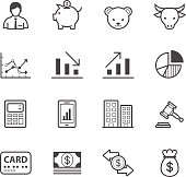 Various business and financial icons in black