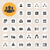 Various business icons in circles
