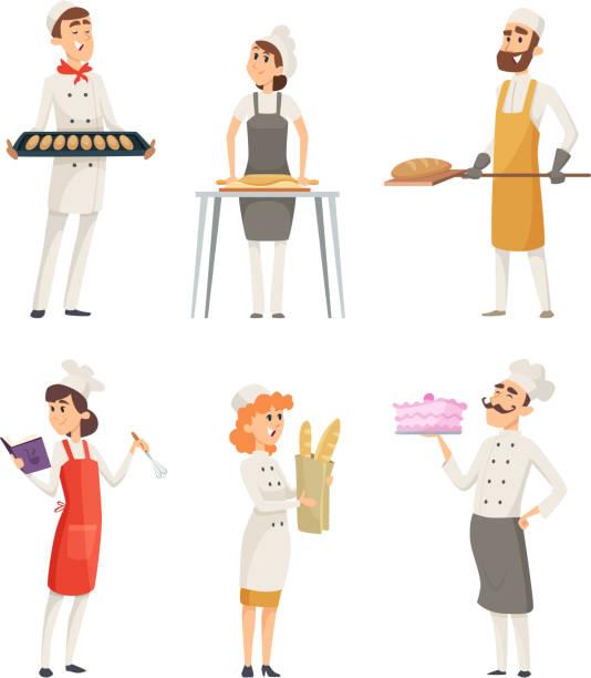 illustrations, cliparts, dessins animés et icônes de différents boulangers de personnages de dessin animé au travail - boulanger