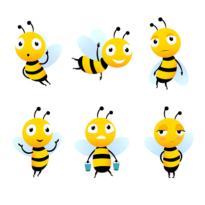 Various cartoon characters of bees with honey