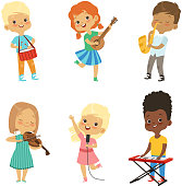 Various cartoon kids musicians