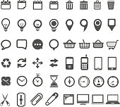 Various cartoon web icons over white background