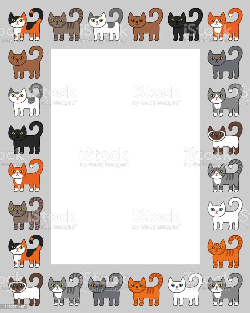 Various cats border frame. Cute and funny cartoon kitty cat vector...