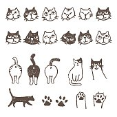 Various cat's, face, paw, and footprint