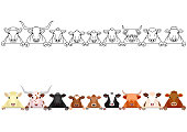 various cattle head in a row