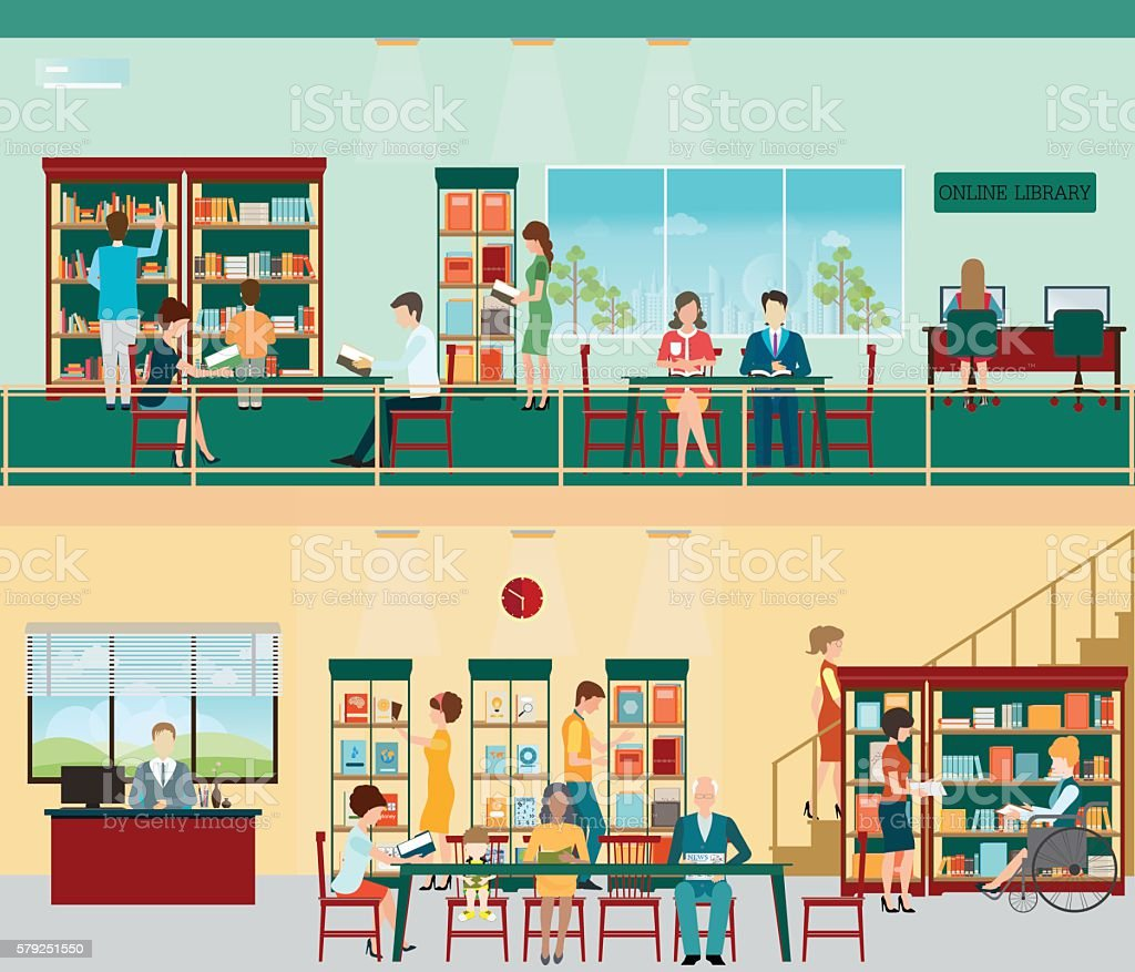 Various character of people in Bookstore. vector art illustration