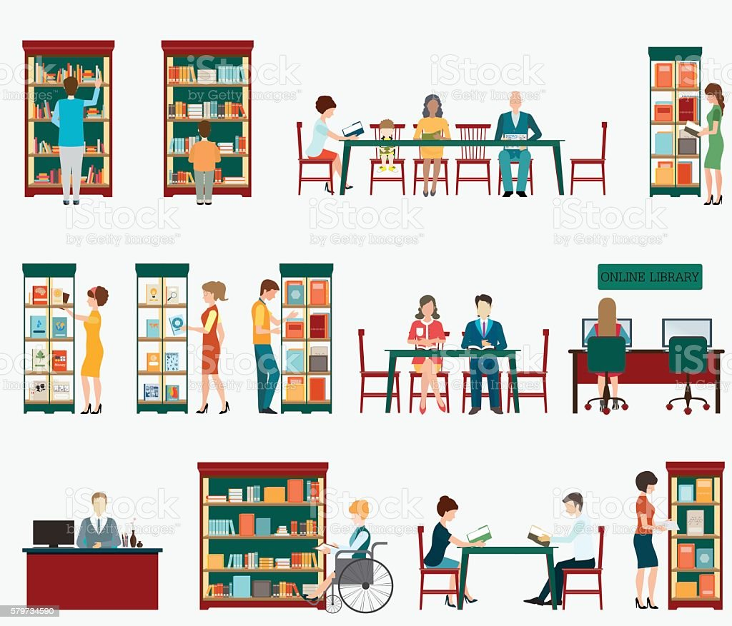 Various character of people in Bookstore vector art illustration