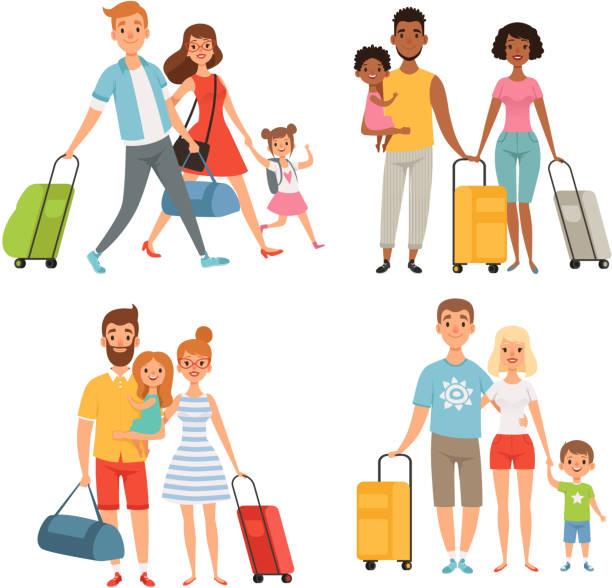 ilustraciones, imágenes clip art, dibujos animados e iconos de stock de varios personajes de familia feliz en verano viajar - viajes familiares