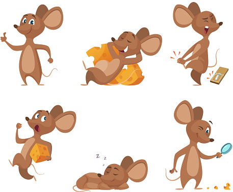 Various characters of mice in action poses