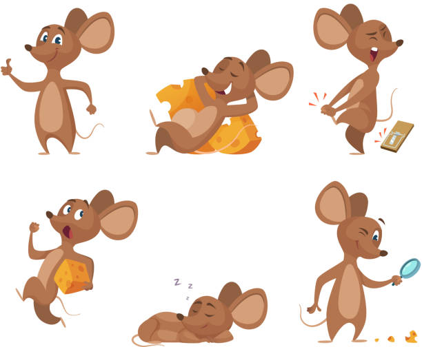 various characters of mice in action poses - mouse stock illustrations