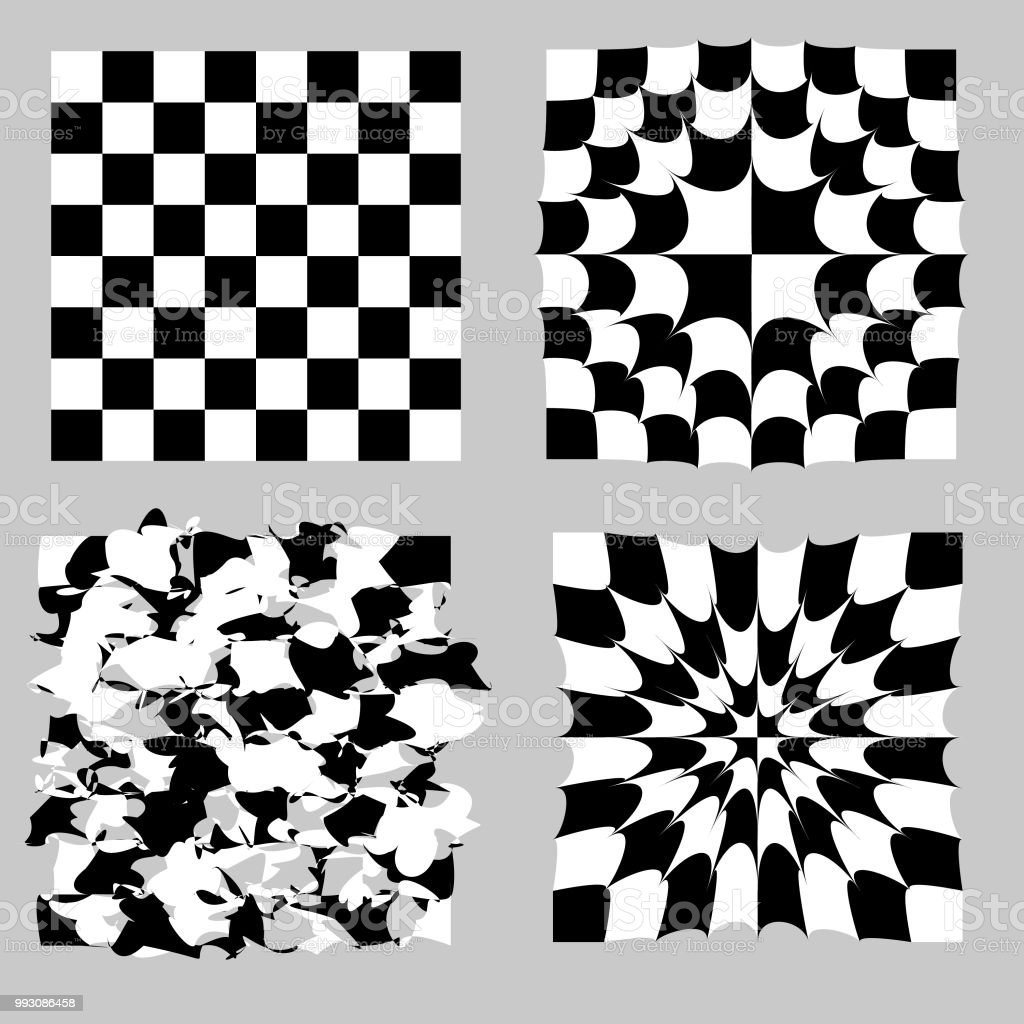 Various Chessboards Normal Chaotic And Warp Black White Abstract Backgrounds Royalty