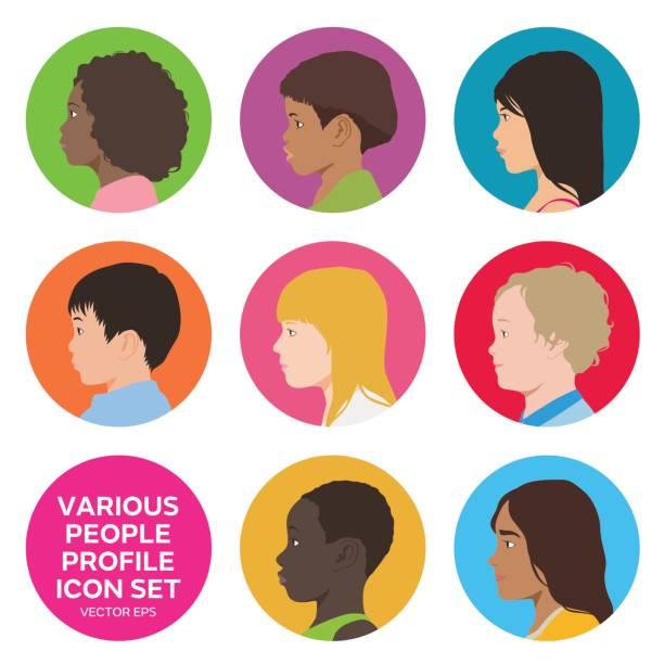 verschiedene kinder profil eingerichtet, avatar symbole menschen gesicht seitenansicht - kindergesichtsfarben stock-grafiken, -clipart, -cartoons und -symbole
