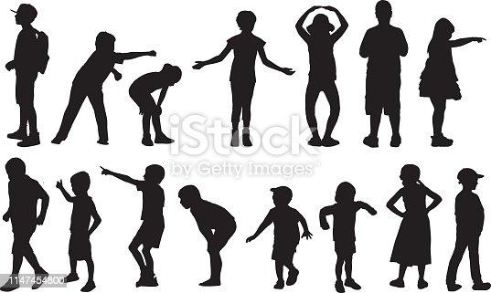 Vector silhouettes of children in various activities.