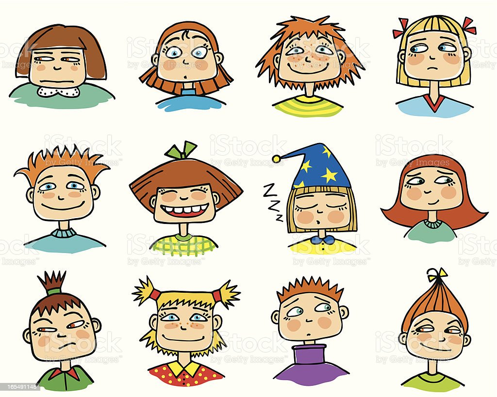 Set Of Cartoon Childrens Faces Stock Vector Art More: Various Childrens Faces Showing Different Emotions Stock