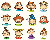 Various Children's Faces Showing Different Emotions