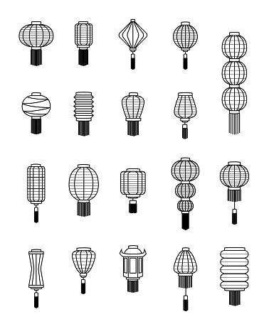 Various Chinese Lantern Black and White Line Art Vector Illustration