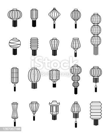 istock Various Chinese Lantern Black and White Line Art Vector Illustration 1267052166