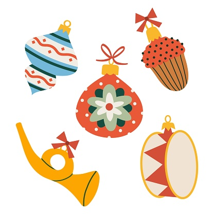 Various Christmas baubles in retro style. Vector hand drawn illustration in cartoon flat style. Isolated on white background.