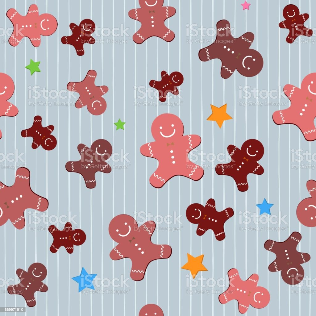 various christmas cute gingerbread seamless background wallpaper vector id889971910