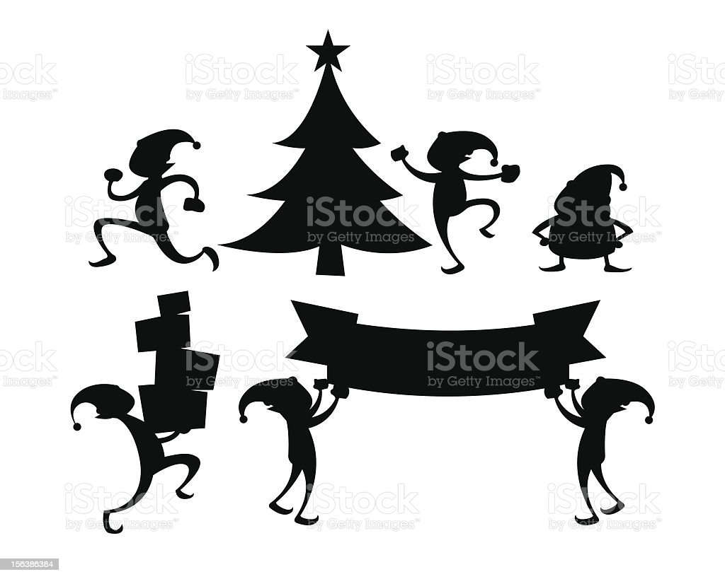 Various Christmas Elf Activity Silhouette Set Stock Illustration Download Image Now Istock