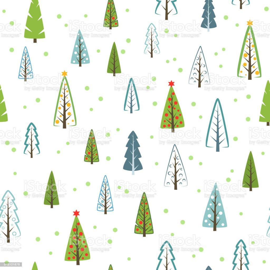 Ilustración de Varios Navidad árboles De Patrones Sin Fisuras Para ...