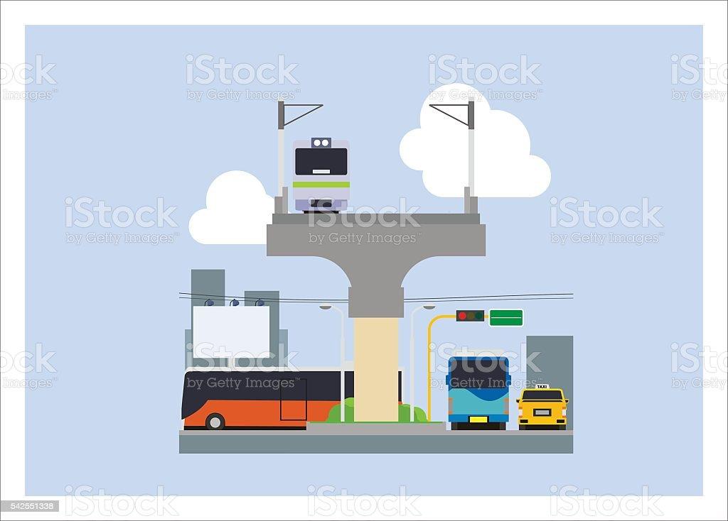 various city transportation vector art illustration