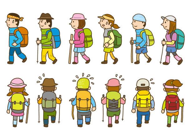 Various climbers vector art illustration