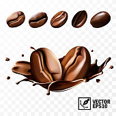 Various coffee beans with the ability to substitute in the coffee splash, 3D realistic isolated vector, editable handmade mesh