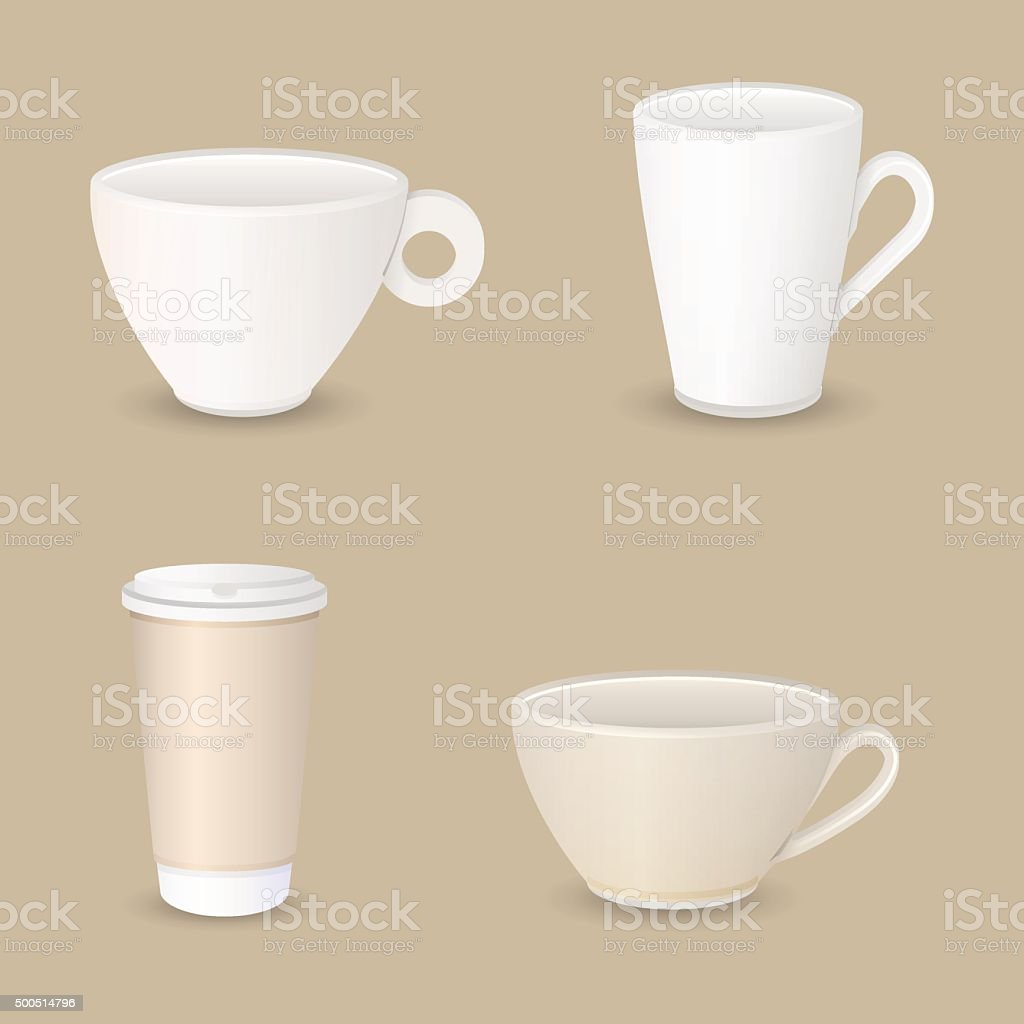 various coffee cups vector art illustration