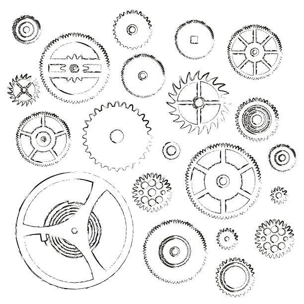 various cogwheels parts of watch movement doodle icons eps10 vector art illustration