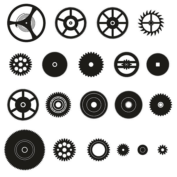 various cogwheels parts of watch movement eps10 vector art illustration