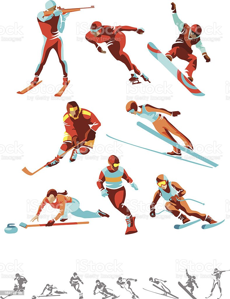 Various color and monotone winter sport icons vector art illustration