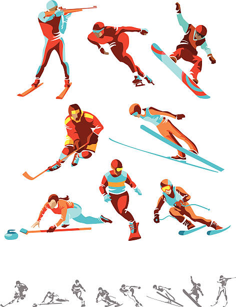 winter sport - skirennen stock-grafiken, -clipart, -cartoons und -symbole