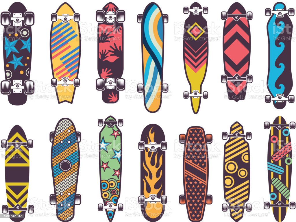 Various colored patterns on skateboards vector art illustration