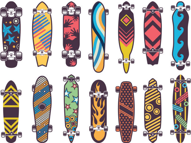 Various colored patterns on skateboards Various colored patterns on skateboards. Collection of skateboard, illustration of skateboarding urban equipment skateboard stock illustrations