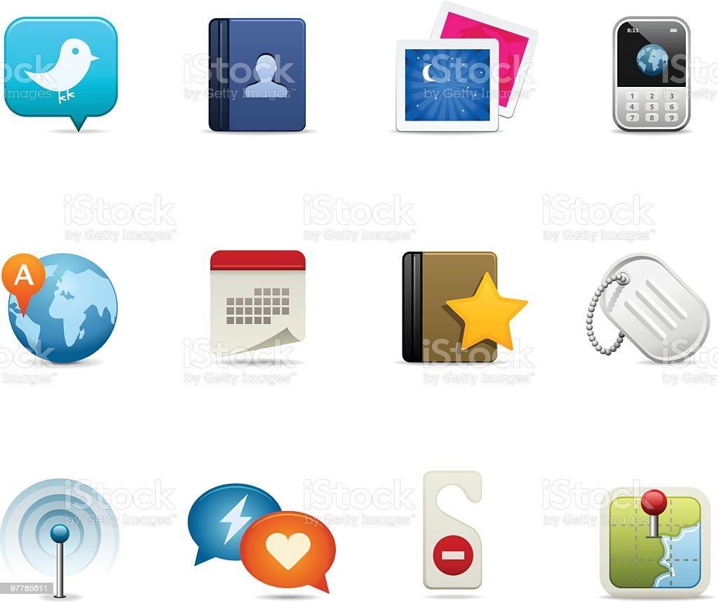 Various colored social media icons royalty-free stock vector art