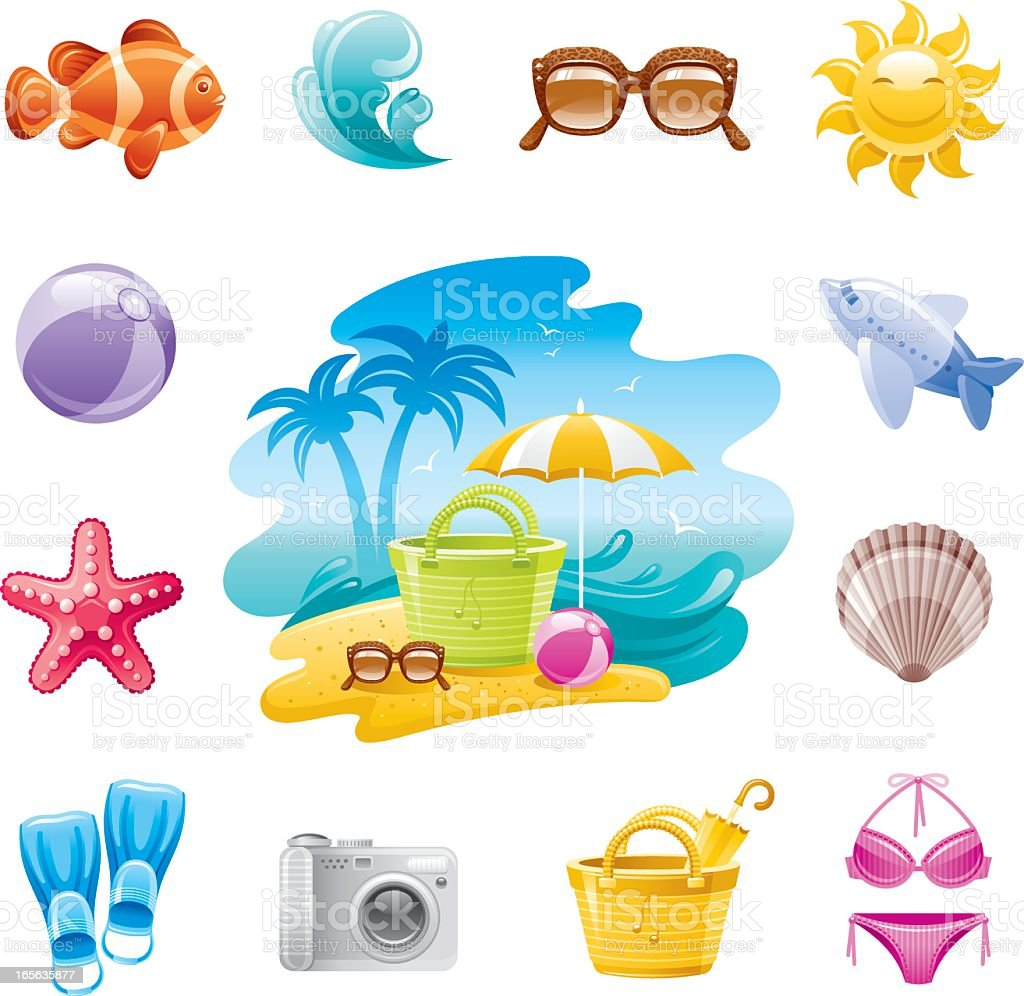 Various colorful beach icons on a white background vector art illustration