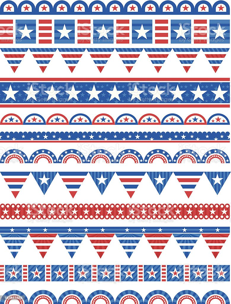 Various colorful decorative borders with American design vector art illustration