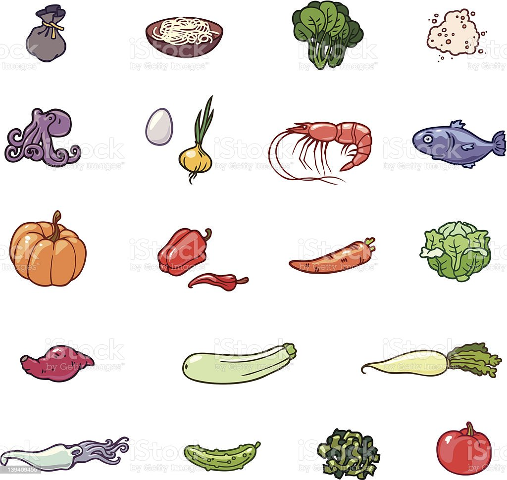 Various colorful food related icons vector art illustration