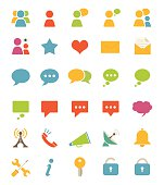 Various colorful icons of media and communications